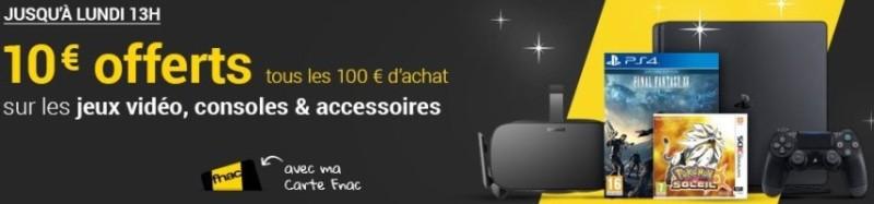 10€ offerts tous les 100€ d'achats à la FNAC