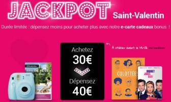 Carte cadeau fnac d'une valeur de 40€ à 30€