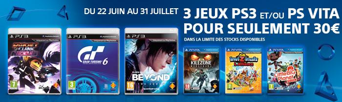3 jeux PS3 et/ou PS Vita pour 30€