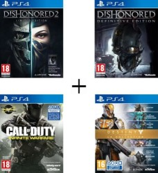 Pack de 4 jeux PS4 (Dishonored 2 + Dishonored Definitive Edition + Destiny : La collection + Call of Duty Infinite Warfare)