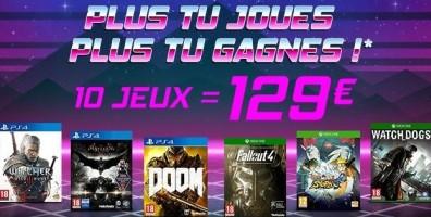 Opération jeux vidéo (PS4, Xbox One) : 3 jeux pour 59€, 5 jeux pour 79€ ou 10 jeux pour 129€