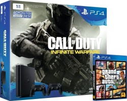 "PS4 Slim 1 To pack ""2 manettes + Call of Duty Infinite Warfare"" + GTA V"