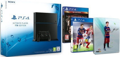 Console PlayStation 4 1To + Fifa 16 + Steelbook FIFA 16 exclusif + Metal Gear Solid V