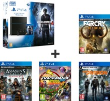 """PS4 1 To Pack """"Uncharted 4"""" + Far Cry Primal + The Division + Trackmania Turbo + Assassin's Creed Syndicate"""