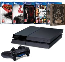 PlayStation 4 500 Go + God of War III + Assassin's Creed Syndicate + Metal Gear Solid V : The phantom Pain + GTA V + The Evil Within