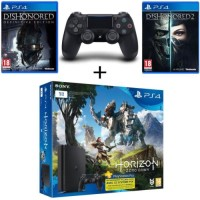 PS4 Slim 1 To + Horizon Zero Dawn + Dualshock 4 supplémentaire + Dishonored Definitive Edition + Dishonored 2