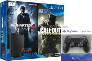"""PS4 Slim 1 To pack """"Uncharted 4 + Call of Duty Infinite Warfare"""" + DualShock 4 v2 supplémentaire"""