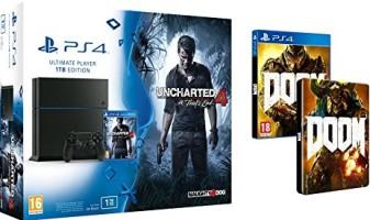 PS4 1 To + Uncharted 4 + Doom + steelbook