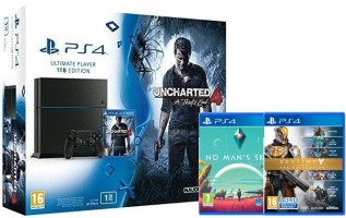 Pack PS4 1 To + Uncharted 4 + No Man's Sky + Destiny : La collection