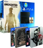 Pack PS4 + Uncharted Collection + Assassin's Creed Syndicate + Metal Gear Solid V The Phantom Pain + 2 steelbooks