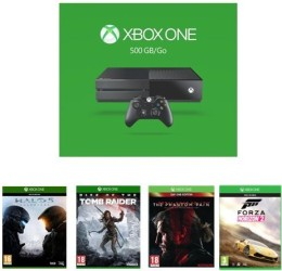 Xbox One 500Go + Halo 5 : Guardians + Rise of the Tomb Raider + Metal Gear Solid V : The Phantom Pain + Forza Horizon 2