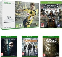 "Xbox One S 500 Go blanche pack ""FIFA 17"" + Assassin's Creed : Syndicate + Fallout 4 + The Division + Dishonored 2"