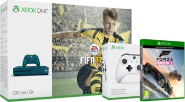 "Xbox One S 500 Go bleue pack ""FIFA 17"" + manette supplémentaire blanche + Forza Horizon 3"